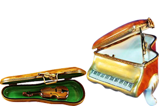This is selection of stunning porcelain Limoges Boxes having themes that feature musical instruments.