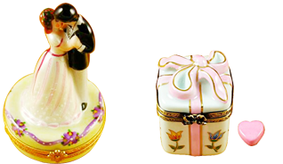 This is selection of elegant porcelain Limoges Boxes having themes that feature lifeÂ's special occasions.