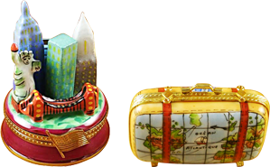 This is selection of elegant porcelain Limoges Boxes having themes that feature travel memories or aspirations.