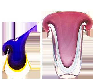 Murano Glass Vase Purple/Aqua/Blue