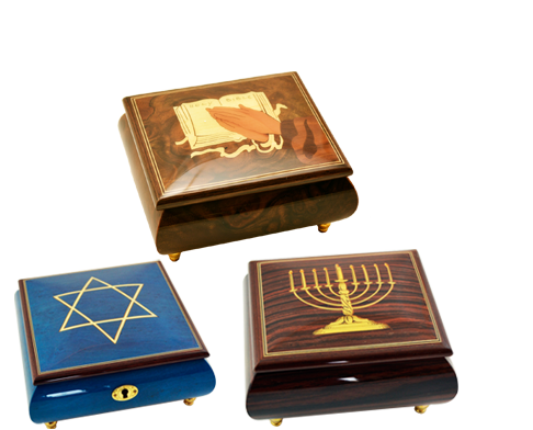 Amazing Music Boxes –These Sorrento music boxes are featured with symbols related to Religion. The symbols on these religious music boxes are connected to the Christmas and Hanukkah festival.