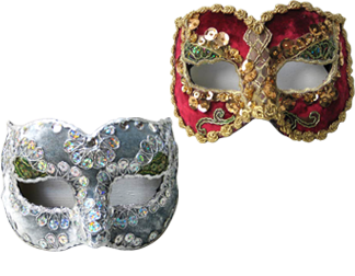 Zanni/Nazo masks - sometimes referred to as the Medico Delle Peste - are elegant and decorative with detailed styling.