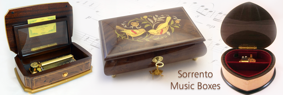 The music boxes are painted with very charming colors and each of them features heart-shaped designs. There are single hearts with integrated floral designs and twin hearts that intertwine with each other.