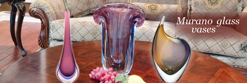 These Murano glass vases are fashioned in various attractive shapes.