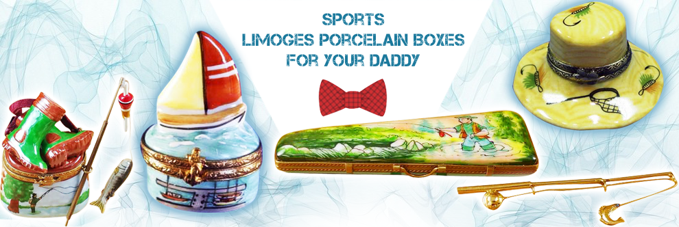 This is selection of elegant porcelain Limoges Boxes having themes that display your love of the active life.
