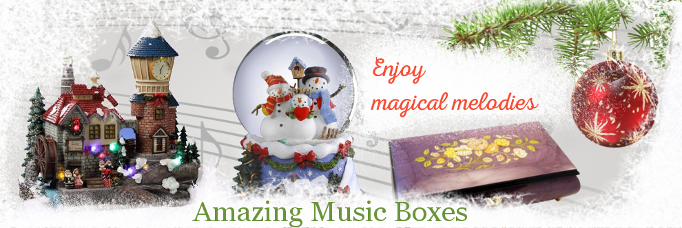 These music boxes carry all types of figurines and scenes connected with Christmas and winter.