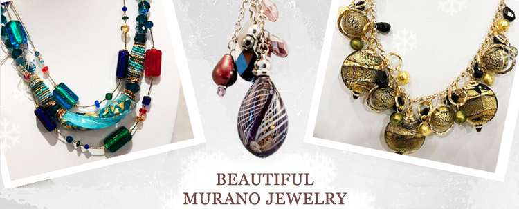 Murano Glass Jewelry - These gorgeous Murano Glass Necklaces truly stand out. Made of individual pieces of Murano glass they are as captivating as they are elegant.