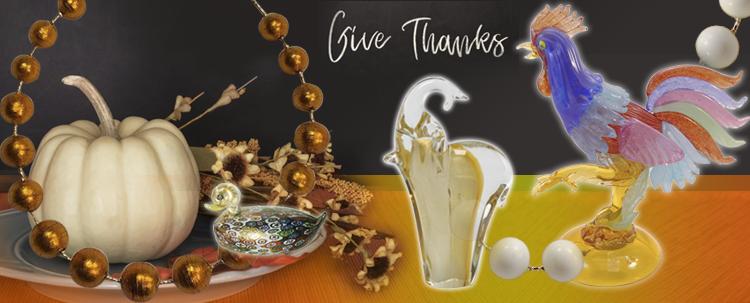 Give thanks murano glass decor