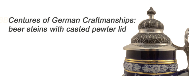 Beer Steins offers exclusive collection of authentic German Beer Steins, Beer Mugs and Glassware: traditional beer steins, figural beer steins, beer glasses, beer steins with casted pewter.