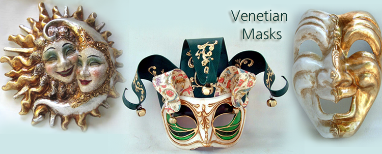 Celebrate Mardi Gras in original masquerade masks from Italy: Animals, Arlechino, Colombina, Colorosa, Full face masks, Galletto, Incas, Jolly, Wall Decor Venetion Masks.