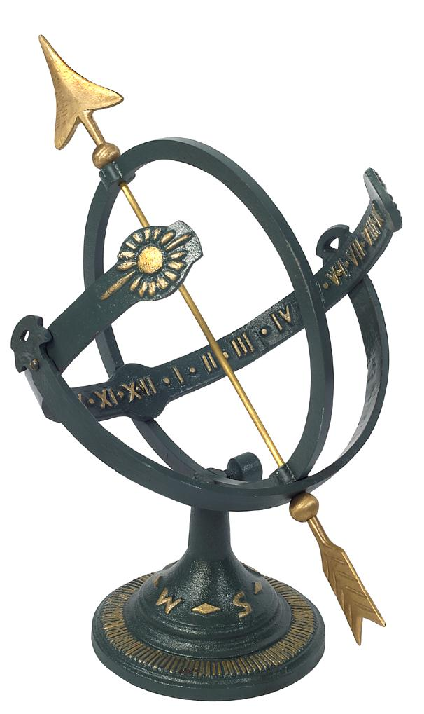 Cast Iron Armillary Sundial (Painted Iron w/Brass Arrow)