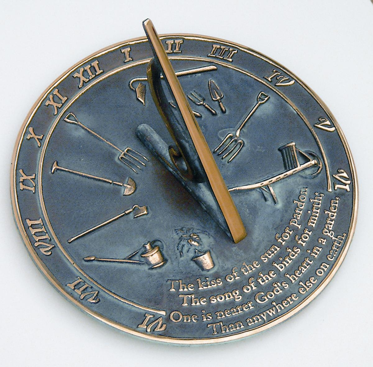 Brass Kiss Of The Sun Sundial (Solid Brass w/Verdigris Highlights)