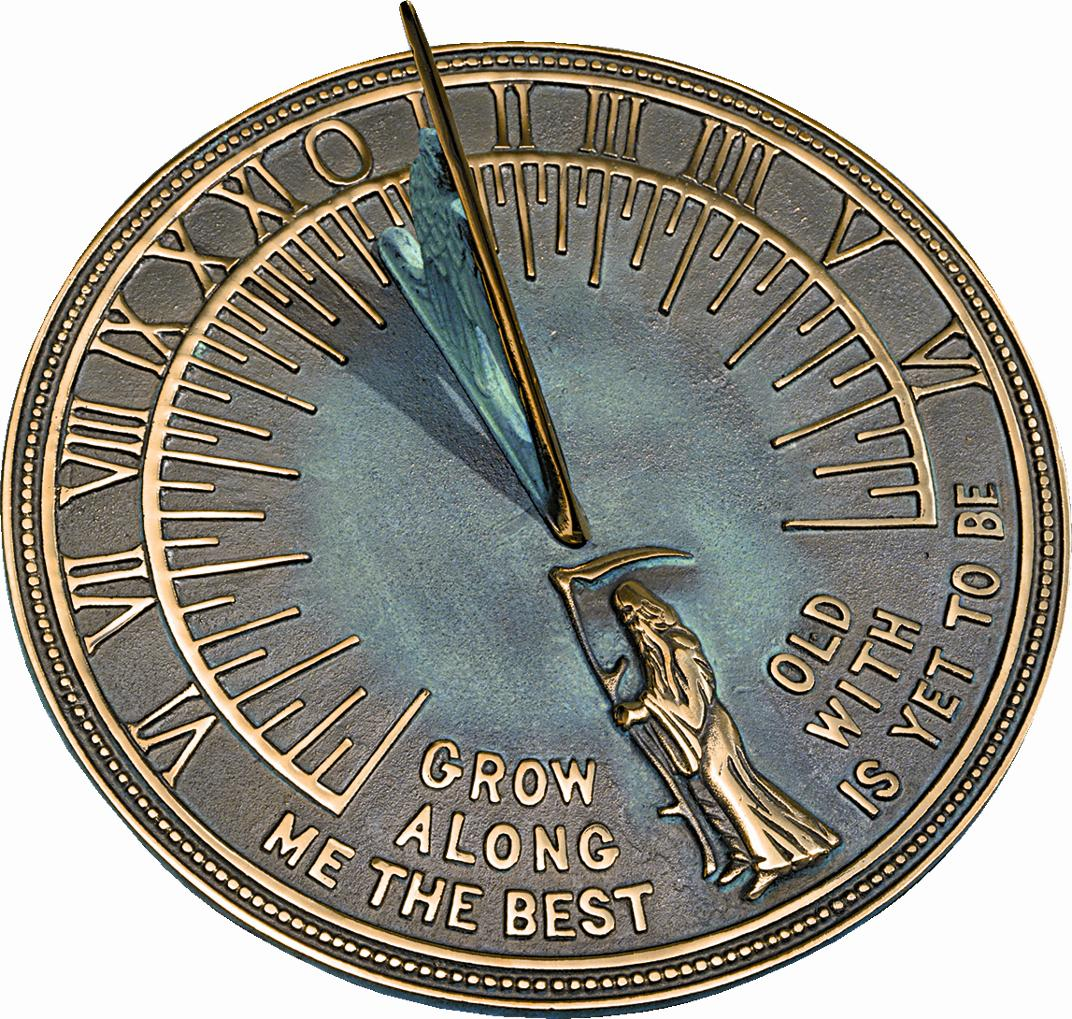 Brass Father Time Sundial (Solid Brass w/Verdigris Highlights)