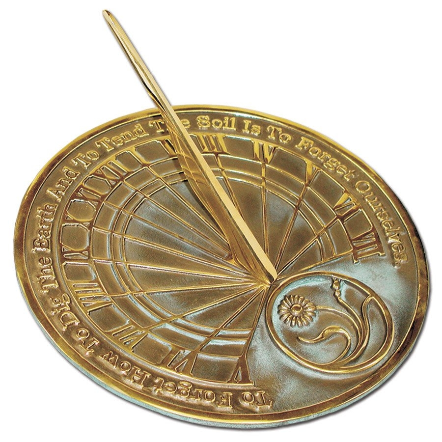 Brass Gardener's Reflection Sundial (Solid Brass w/Verdigris Highlights)