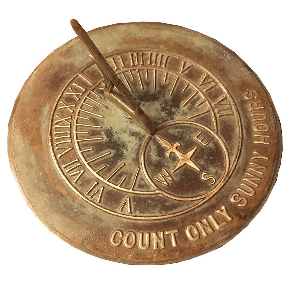 Solid Brass Count Sunny Hours Sundial