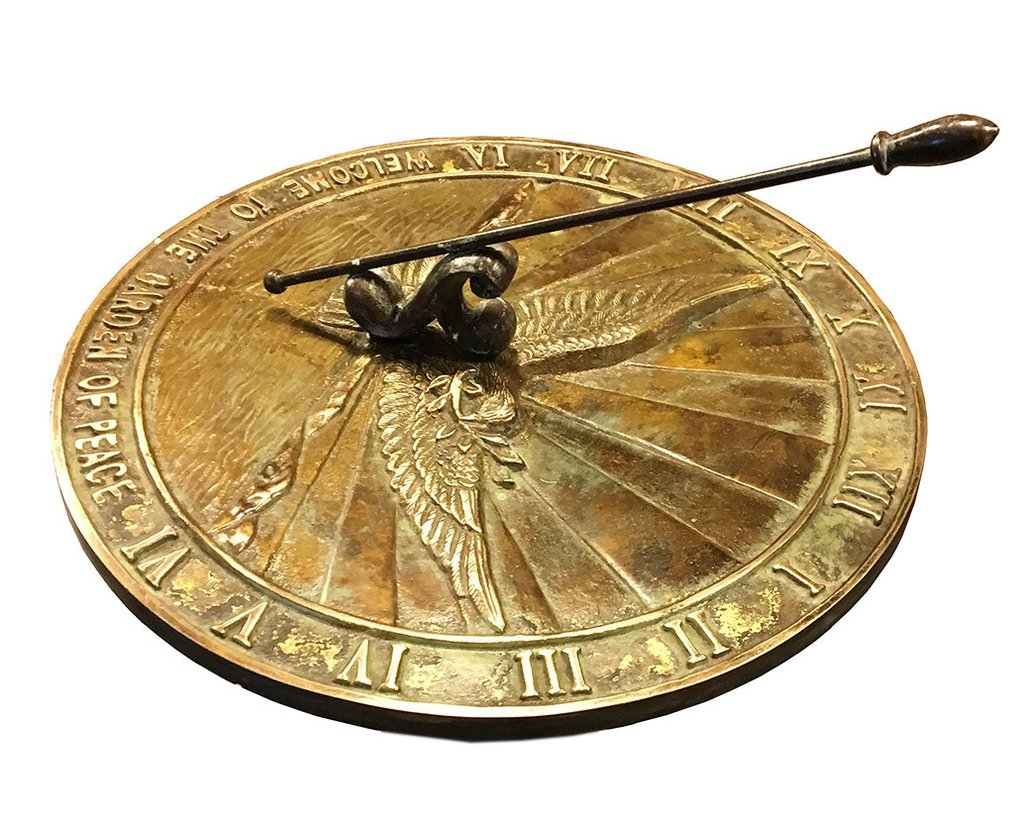 Brass Peace Dove Sundial (Solid Brass w/Patina Finish)