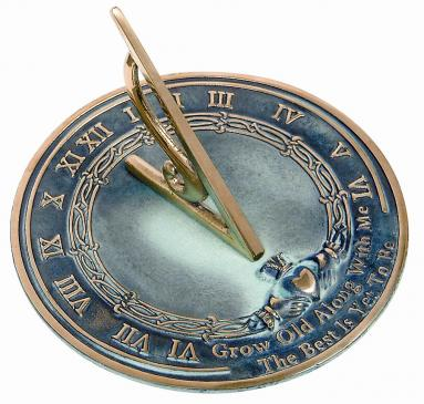 Brass Grow Old With Me Sundial (Solid Brass w/Verdigris Highlights)
