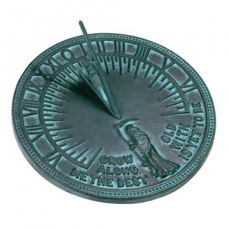 Cast Iron Father Time Sundial (Cast Iron w/Verdigris Finish)